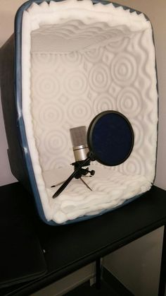 Cancelling Portable Studio Box Picture of Sound Cancelling Portable Studio Box. Looks less space consuming than a booth of fabric & pvc :-)Picture of Sound Cancelling Portable Studio Box. Looks less space consuming than a booth of fabric & pvc :-) Home Recording Studio Setup, Recording Booth, Home Studio Setup, Music Studio Room, Sound Studio, Music Rooms, Studio Gear, Audio Room, Sound Proofing