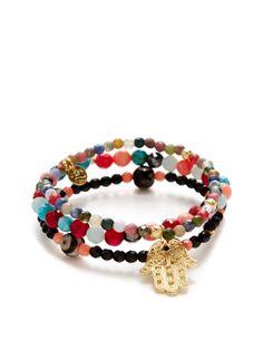 Set of 3 Onyx & Semi-Precious Gemstone Stretch Bracelets by Good Charma at Gilt