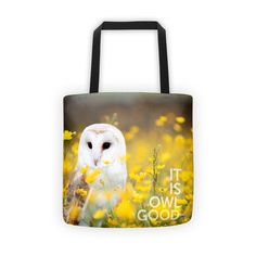 OWL GOOD tote. New tote at boesarts.com. Check the collection.