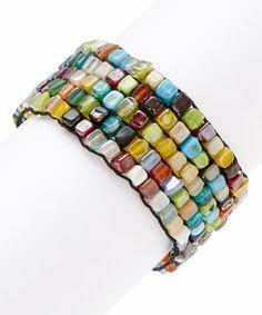 Loving this Blue & Yellow Mosaic Stretch Bracelet on #zulily! #zulilyfinds