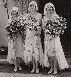 Sister actresses Natalie, Constance, and Norma Talmadge at Constance's marriage to husband #3, Townsend Netcher in May 1929. They divorced on 1931. In 1939 she married her fourth husband Walter Giblin, which ended with his death in 1964. She passed in 1973. (Natalie was married to Buster Keaton 1921-1932 and Norma was married to her third husband Carval James from 1946 until her death in 1957.)