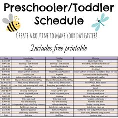 Includes ideas and a free printable schedule for preschoolers and toddlers