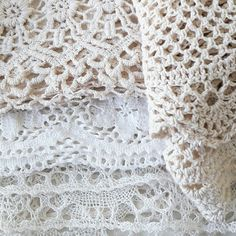 Old linens and lace. Waiting to be reused in to a new handmade item at www.looandbert.com