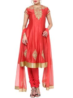 Shop Coral Cotton Silk Kalidar Suit Set By Rohit Bal online at Biba.in - RB#4018COR