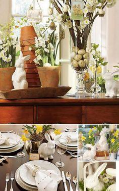 Coelhos de porcelana caem bem com praticamente tudo - aqui, eles harmonizam com as flores amarelas e a madeira
