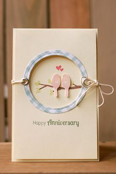 Happy Anniversary card - Circle negative space for 2 love birds :-)