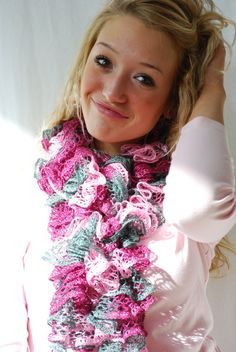 Mother's Day Scarf in Pink Magenta and Gray Ruffled by AquaLumen, $30.00