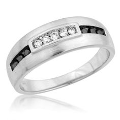 Mens Black and White Diamond Wedding Band in P4 | Groom