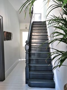 HOME & DECOR Black painted staircase, Farrow & Ball Railing stairs, painted floors. Black Painted Stairs, White Painted Floors, Painted Floorboards, Black Floor Paint, Black Floorboards, Black Staircase, Staircase Design, Black Stair Railing, Modern Staircase