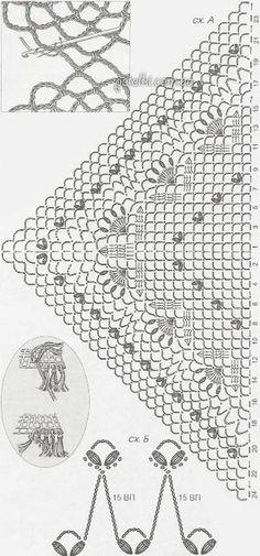Chal de ganchillo exquisito. La descripción del esquema de tejido de punto by helene