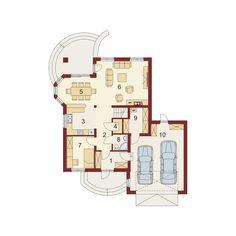 Rzut DA Swetoniusz 2 CE Little Houses, Architecture Design, House Plans, Floor Plans, House Design, How To Plan, Luxury, Holiday Decor, Bungalows