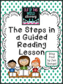 The Steps in a Guided Reading Lesson - Kindergarten Lesson Guided Reading Lesson Plans, Guided Reading Activities, Guided Reading Groups, Reading Centers, Reading Workshop, Reading Resources, Kindergarten Reading, Reading Skills, Teaching Reading