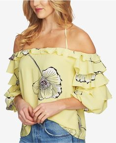 2db7889fc9c9af STATE Printed Ruffle-Sleeve Top   Reviews - Tops - Women - Macy s