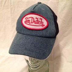 e41c46f232f Von Dutch Trucker Hat Snapback Cap Blue Kustommade Originals Denim Look Von  Dutch