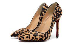 Christian Louboutin Replica Leopard Fur Beige & Black Pointy Toed Pump