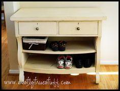 Dresser turned adorable shoe rack
