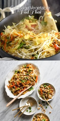 Vegetarian Recipes Dinner, Thai Recipes, Asian Recipes, Low Carb Recipes, Cooking Recipes, Healthy Recipes, Cabbage Vegetable, Vegetable Recipes, Salads