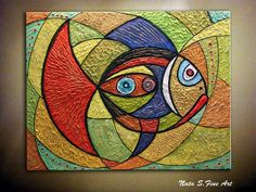 Original Abstract Fish Painting Modern Fish Painting Colorful Textured Art Large Abstract Painting Home & Office Wall Art Decor by Nata S Art Texture, Large Painting, Textured Painting, Fish Art, Mosaic Patterns, Simple Art, Lovers Art, Art Lessons, Pop Art