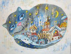 Купить Ночка ( батик панно) - синий, кот, ночь, город, звезды, луна