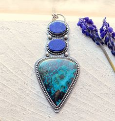 Eye Catching Silver Lapis Chrysocolla Necklace in a by EONDesign