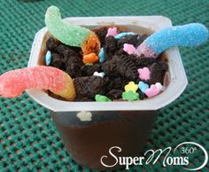 Springtime Worms & Dirt - Create an edible dirt patch with pudding, chocolate sandwich cookies and gummy worms. A definite favorite with the kids. Tags: Spring Recipes for Kids | Spring Dessert for Kids | easy spring dessert | cute spring dessert | SuperMoms360.com