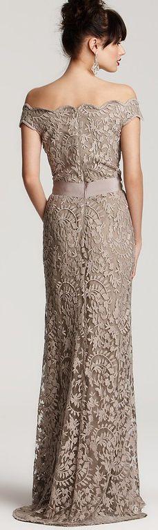 Tadashi Shoji Off-shoulder Lace Gown http://www.lyst.com/clothing/tadashi-shoji-antique-off-shoulder-lace-gown-beige/