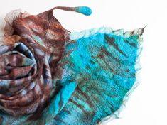 Nuno Felted Scarf Exotic Bird Feather Fiber Art by frenchfelt, €105.00
