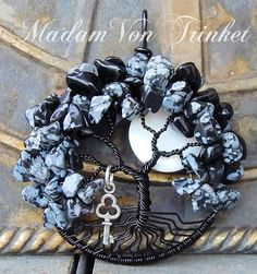 Wire Wrapped Snowflake Obsidian Tree of Life with Mother of Pearl Moon