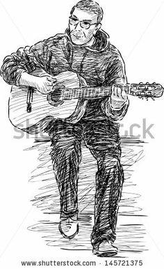 street musician - stock vector