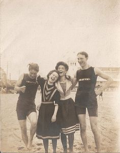Friends at the beach, 1890-1900s.
