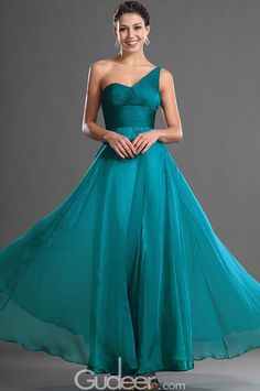 asymmetrical one shoulder sleeveless pleated empire long prom dress