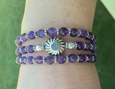 Genuine Faceted Amethyst Multi Strand Memory Wire Coil Bracelet
