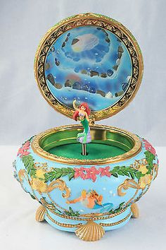 Rare Disney The Little Mermaid Music Jewelry Trinket Box Princess Ariel