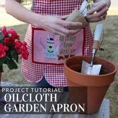 Get ready to start digging in your garden with a colorful oilcloth garden apron from Embroidery Library.