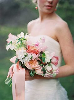 Peach and pink bouquet with roses, tulips and sweet pea | www.onefabday.com