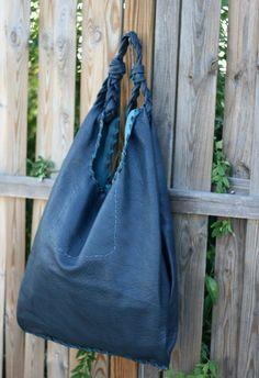 Blue Leather Hobo Bag  Every day Shopping Bag  by EleannaKatsira