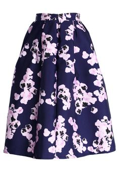 Pink on Navy Floral Midi Skirt - Skirt - Bottoms - Retro, Indie and Unique Fashion