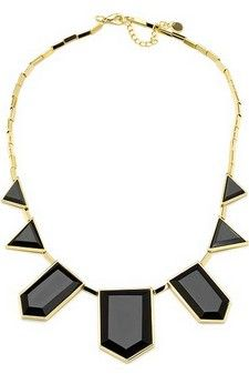 House of Harlow 1960 Black Resin Triangle Necklace