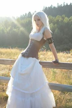 Definitely love this idea for a wedding dress. it would probably only cost about $300 total, too, with some extra accessories. <3