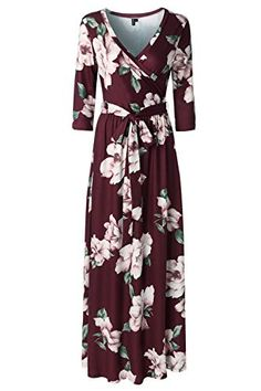 Continue reading Zattcas Womens Sleeve Floral Print Faux Wrap Long Maxi Dress With Belt Wine Red Small at Kokania - Best Online Store. Maxi Dress With Sleeves, Belted Dress, Floral Maxi Dress, Short Sleeve Dresses, Long Dresses, Plus Size Maxi Dresses, Casual Dresses, Fashion Dresses, Cruise Dress