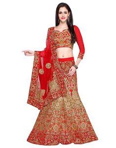 Red Art Silk Lehenga Choli with Zari Work