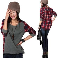 Free shipping Promotion Sale New fashion Long Sleeve plaid Bottoming Shirt women Female sweater S M L XL XXL size Loose blouse-in Hoodies & Sweatshirts from Apparel & Accessories on Aliexpress.com   Alibaba Group