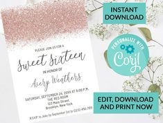 Rose Gold Sweet 16 Invitation, Quinceanera Sweet 15, Sweet Sixteen #86 | Digital INSTANT DOWNLOAD Editable Invite | Glitter Sparkle by PurplePaperGraphics on Etsy Sweet 16 Invitations, Party Invitations, Invite, Hanging Mason Jars, Ball Mason Jars, Camera Clip Art, Quinceanera Invitations, Sweet 16 Parties, Sweet 15