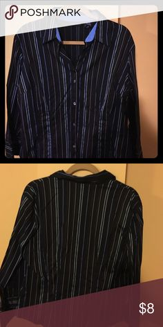 Black and blue Striped collar office attire shirt New York and Company Black and blue Striped collar buttoned office attire shirt. Stretch material. Size(XL). Worn a couple times New York & Company Tops Button Down Shirts