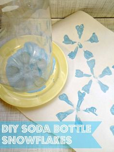 """Grab an empty 2L bottle and some paint to stamp out these easy bottle snowflake craft for kids! A great """"Less mess"""" preschool activity to celebrate the cold"""