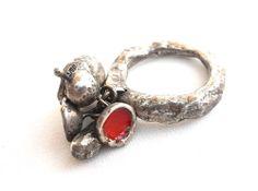 Liisa Hashimoto  Ring: Red seed 2011  Silver, enamel  4cm