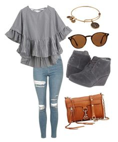 """""""FALL OUTFIT"""" by lilly1345 ❤ liked on Polyvore featuring Topshop, WithChic, TOMS, Alex and Ani, Ray-Ban and Rebecca Minkoff"""