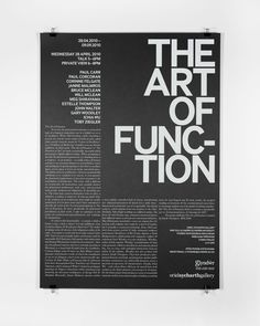 The Art of Function. Oriel Sycharth Gallery. — Boyce — Design and Art Direction