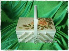 Decoupage sewing box wooden sewing box storage by LaverdureStudio