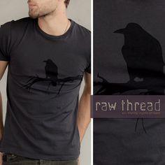 For da hubby: Mens T shirt Organic Raven Bird on Organic Smoke Tee by RawThread, $25.00